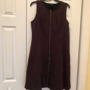 Ann Taylor Quilted Sleeveless plum dress, size 14